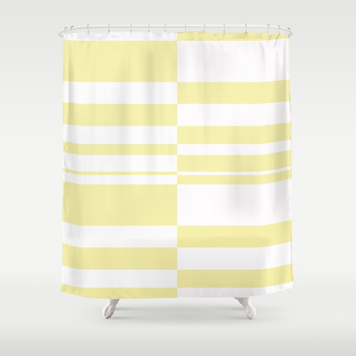 Abstract Striped Patternwhite And Yellow Shower Curtain