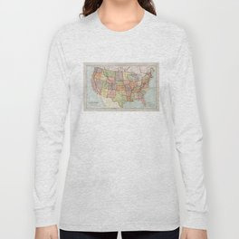 Vintage Map of The United States (1887) Long Sleeve T-shirt