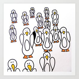 Penguin Waddle Art Print