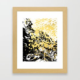 Sukie - abstract gold black and white foil glitter shiny sparkle hipster painting free spirit cosmic Framed Art Print