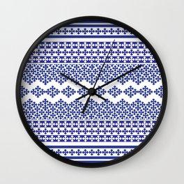 Vintage geometric blue ad white motif pattern Wall Clock