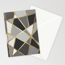 Black & Gray Modern Geo Gold Triangles Stationery Cards