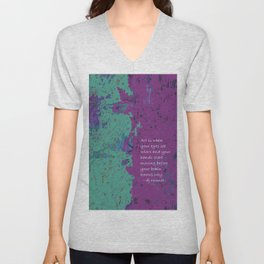 Definition of art, mixed media typography, teal green blue purple, quote Unisex V-Neck