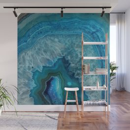 Blue agate marble faux druse crystal quartz gem gemstone geode mineral stone photograph hipster Wall Mural
