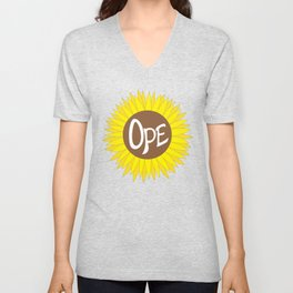 Hand Drawn Ope Sunflower Midwest Unisex V-Neck