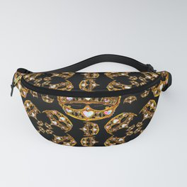 Queen of Hearts gold crown tiara scattered pattern by Kristie Hubler with black background Fanny Pack