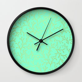 DELICATE LEAVES - MINT Wall Clock