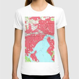 Vintage Map of Jacksonville Florida (1964) 2 T-shirt