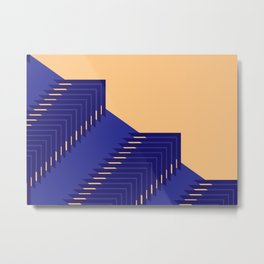 Line pattern, zigzagging with blue and orange Metal Print
