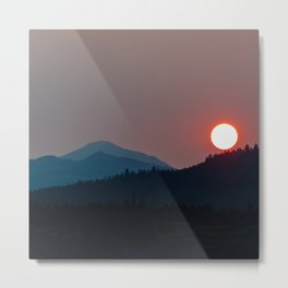 Fire on the Mountain // Smoky Red Sunset on the Peaks Metal Print