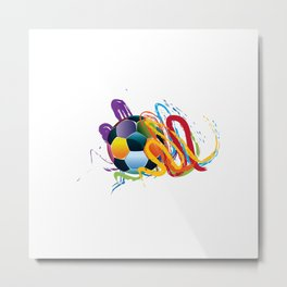 Brush strokes and soccer ball Metal Print