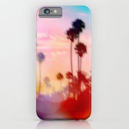 palm tree with sunset sky and light bokeh abstract background iPhone Case