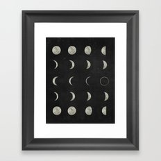 Moon Phases, Black White Decor, Bohemian, Magic, Lunar Cycle Framed Art Print