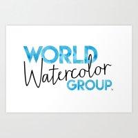 World Watercolor Group Badge Art Print