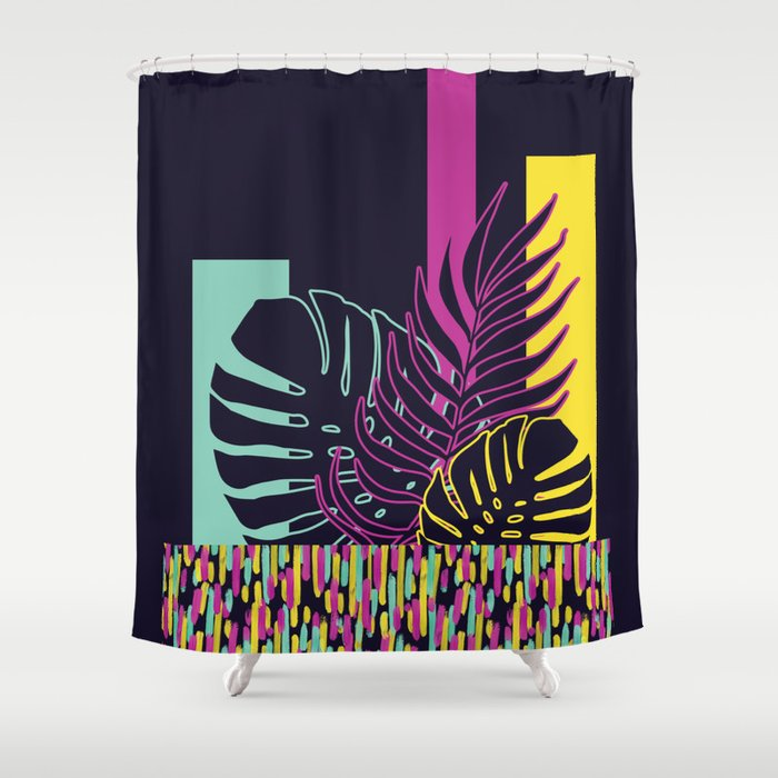 Neon Tropical Society6 Shower Curtain By Designdn