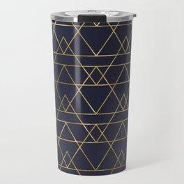 Modern Gold Navy Blue Travel Mug