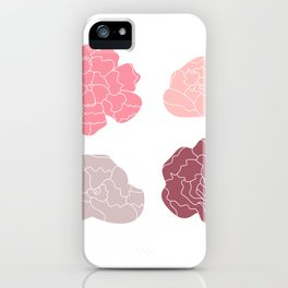 Sweet Peony flowers collection Vector Illustration iPhone Case