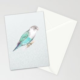 Pale blue lovebird Stationery Cards