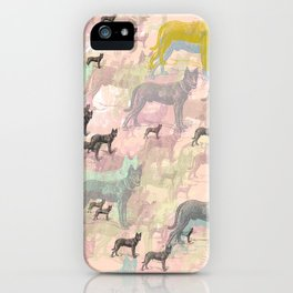 Sky Dogs - Abstract Geometric pink mauve mint grey orange iPhone Case