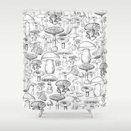Mushroom Print Shower Curtain