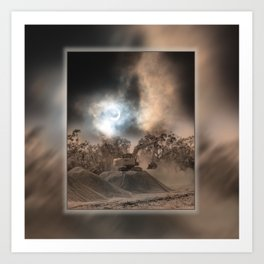 Heavy Duty Earthworks During An Eclipse Art Print