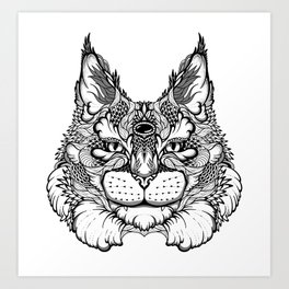 CAT maine coon  / LYNX head. psychedelic / zentangle style Art Print