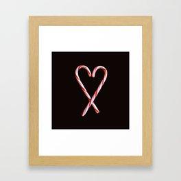 Candy Cane Heart Print Framed Art Print