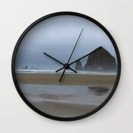 Misty Morning at Cannon Beach Wall Clock