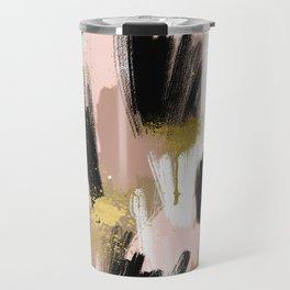Blush and Gold Abstract Travel Mug