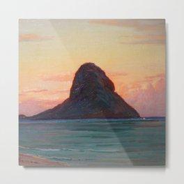 Mokoli'i Island at Twilight pacific landscape painting by D. Howard Hitchcock Metal Print