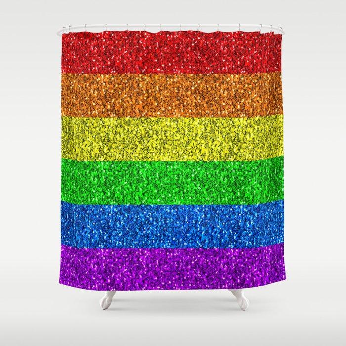 LGBT flag vibrant rainbow glitter sparkles Shower Curtain