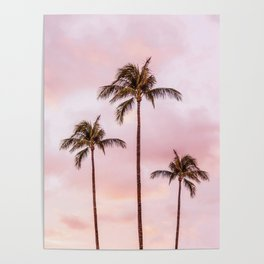 Palm Tree Photography | Landscape | Sunset Unicorn Clouds | Blush Millennial Pink Poster