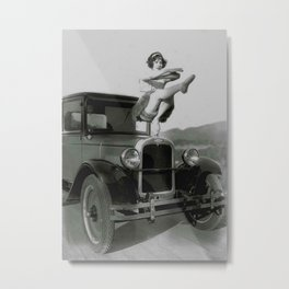 Classical Ballet Toe Pointe technique on the hood of classic car black and white photograph / art photography Metal Print