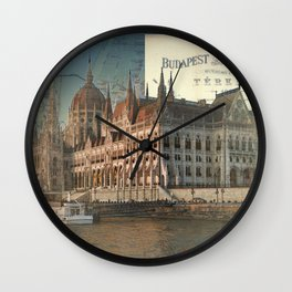 Budapest Travel Map Wall Clock