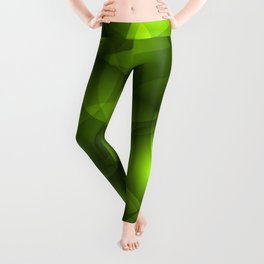 Glowing light green soap circles and volumetric green bubbles of air and water. Leggings