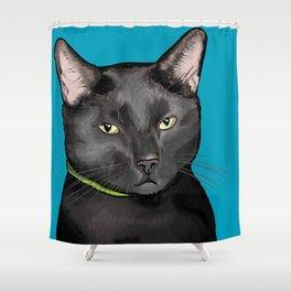 Black Cat Portrait Shower Curtain