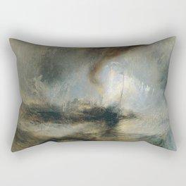 "Tempête de neige en mer ""Snow Storm - Steam-Boat off a Harbour's Mouth"", William Turner, 1842 Rectangular Pillow"