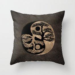 Yin Yang Tree Black and Gold Throw Pillow