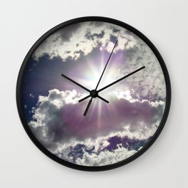 Silver Linings sun through the clouds Wall Clock