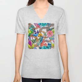 Colorful Watercolor Floral Pattern With Beautiful Wreaths Unisex V-Neck