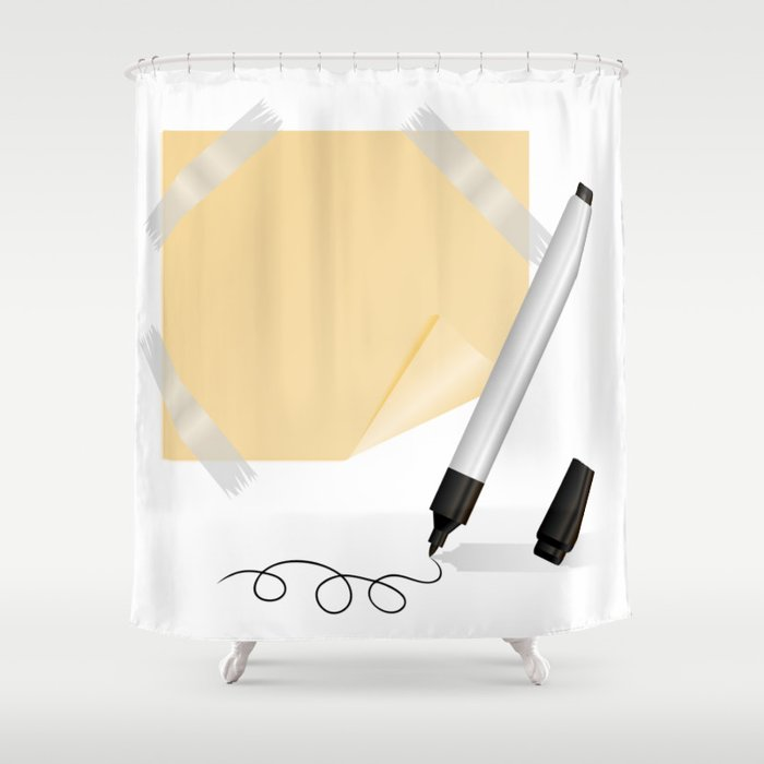 Black marker, yellow sticker with scotch tape Shower Curtain