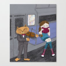 The Cat & the Fiddle on the Subway Canvas Print