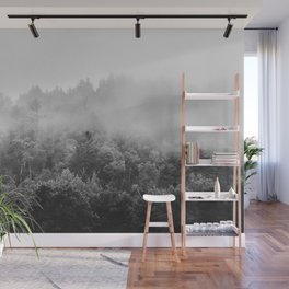 Landscape Photography | Forest Fog | Black and White Art | Minimalism Wall Mural
