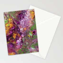 Abstract Floral Acrylic Painting Stationery Cards