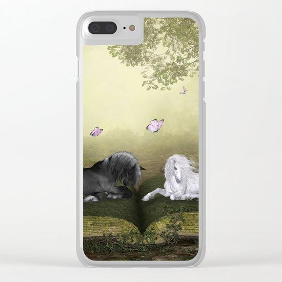 Wonderful white unicorn with black horse Clear iPhone Case