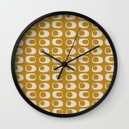 Googie Midcentury Minimalist Pattern in Gold Wall Clock