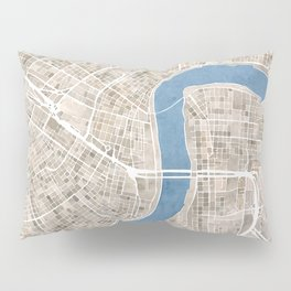 New Orleans Cobblestone Watercolor Map Pillow Sham