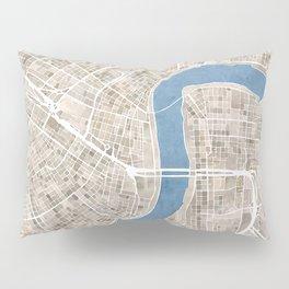 New Orleans Cobblestone Watercolor Map Pillow Sham