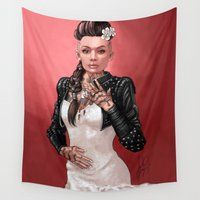mass effect Wall Tapestries featuring Mass Effect - Jack's Wedding by Amber Hague