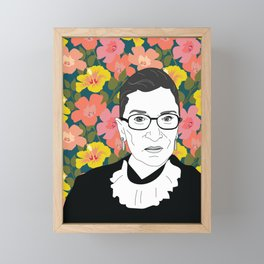Ruth Bader Ginsburg Floral Framed Mini Art Print